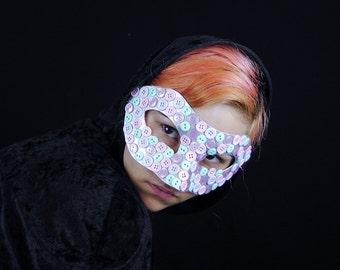 SALE - Pastel Frosted Buttons - Unique Kawaii Harajuku Avant Garde Fantasy Masquerade Mardi Gras Halloween Costume Mask - Ready To Ship!