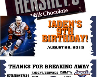 Printable Hockey Birthday Candy Bar Wrappers 1.55 oz. Hershey's Chocolate NHL NY Islanders