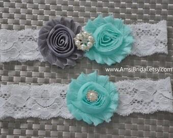 AQUA and GRAY Wedding garter Set Aqua Bridal Garters,Toss lace Garter, Bridal Belt,Gray wedding garters,Custom garters Aqua and Gray Wedding