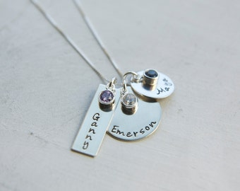 Family Necklace with Birthstones, Sterling Silver, Mom Necklace, Hand Stamped Personalized 3 Charm, Engraved Kids Names Mommy Necklace