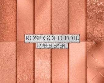 Rose Gold Backgrounds: Rose Gold Digital Paper, Metallic Rose Gold Foil, Copper Foil, Printable Rose Gold Backdrops, Copper Digital Paper