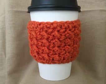 Orange Handmade Crochet Coffee Cup Cozy