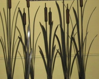 Metal Bulrush Garden Art
