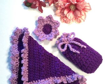 Crochet Bath set soap saver with washcloth and  flower face scrubber Christmas present Birthday Gift Ready to ship