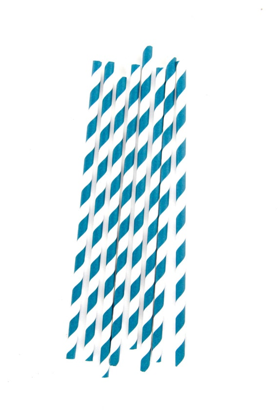 CLOSEOUT SALE Navy Blue Diagonal Stripe Straws 15 Count