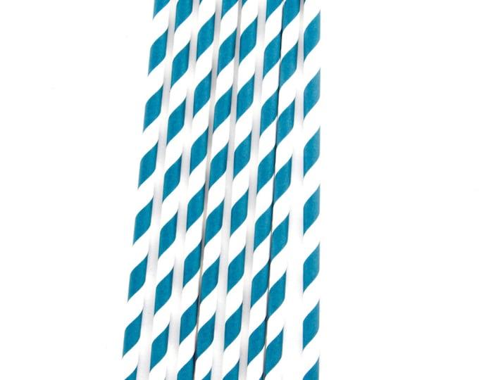 CLOSEOUT SALE Navy Blue Diagonal Stripe Straws 15 Count