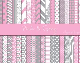 Pink and Gray digital paper pack, Digital paper, Scrapbook paper, Printable paper, Instant download, Printable pattern, Scrapbooking