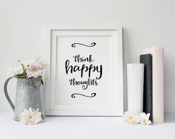 Think happy thoughts, Motivational poster, Positive thinking, Printable quote, Printable poster, Scandinavian poster, Instant download