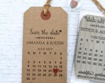 Save the Date Calendar. UK rubber stamp. Wedding invitation.  Custom. Personalised. DIY luggage tag.