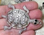 Silver-Toned Rhinestone Turtle Pendant