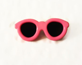 Vintage Pinback Pink Sunglasses Button Retro 80's New Wave Accessory