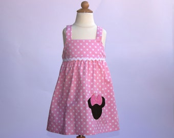 Girl Minnie dress Girl birthday dress  toddler dress baby Minnie dress girl birthday girl applique Minnie dress toddler Minnie dress