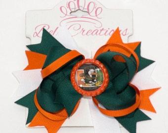 UM hair bow, University of Miami, Sebastian hair bow, green and orange bow