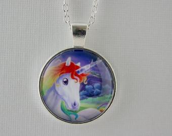 Unicorn, rainbow mane, fantasy, unicorn necklace
