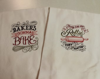 Embroidered Flour Sack Towels, Embroidered, Flour Sack, Kitchen towel, Bakers, Baking, Handmade, Funny