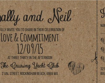 50 Rustic Shabby Chic brown kraftcard Ticket Wedding Invitations!