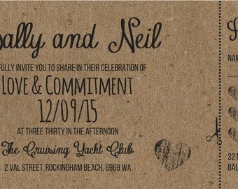 SAMPLE Rustic Shabby Chic brown kraftcard Ticket Wedding Invitations!