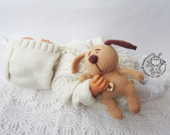 Toy for sleep. Doggie  for small babies- knitting pattern (knitted round). Amigurumi Doggie