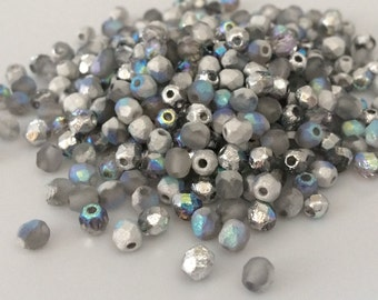 100 pcs 4mm Etched Faceted Round Fire Polished Beads, Crystal Silver Rainbow