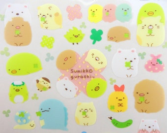 Sumikko Gurashi stickers - kawaii stickers - kawaii San-X stickers - Japanese stickers - four leaf clover stickers - soft pastel stickers