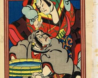Japanese original Ukiyo-e Woodblock print, Torii kiyotada4, Kabuki Actor