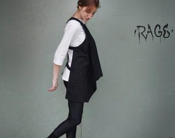 Asymmetrical Extravagant Vest / Black Vest / Black Extravagant Top