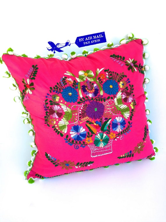 Embroidered mexican dress pillow cover square
