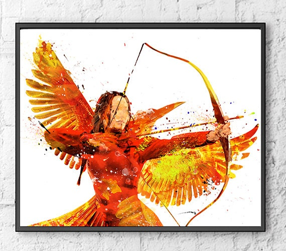 Hunger Games Watercolor Print, Katniss Everdeen Art, Mockingjay, Movie Poster, Home Decor, Kids Room Decor, Fan, Watercolor Painting - 506