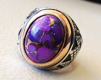 purple copper turquoise natural stone semi precious men ring sterling silver and bronze all sizes antique ottoman middle east style jewelry