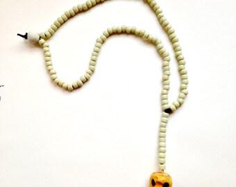 Southwest Skull & Coyote Bead Lariat Necklace