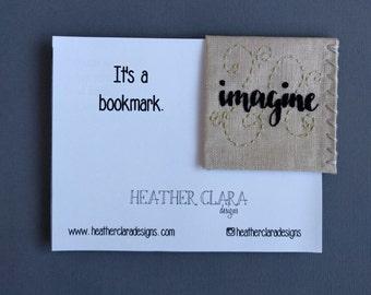 Hand Embroidered Linen Corner Bookmark - Imagine