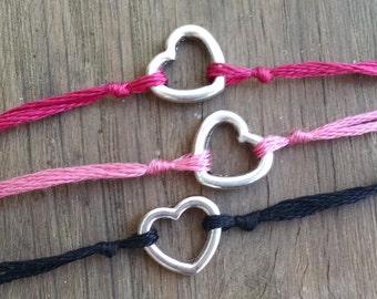Heart Wish Bracelet, Heart Charm Bracelet, Wish Charm, Simple Bracelet, Love Charm, Friendship Jewelry