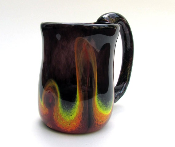 Fancy Coffee Cup With Large Handle Black Glass Coffee Mug