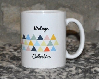 The spirit Vintage Triangles colored yellow blue Orange green Vintage Collection mug