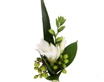 Wedding Boutonniere with white freesia, groom freesia boutonniere, freesia bouquet, freesia corsage