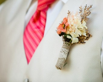 groomsmen boutonniere, rustic wedding, bridal accessories, artificial flowers
