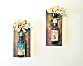 Wall Mounted Beer Bottle Decor, Wall Sconce, Flower Vase, Wall Decor, Repurposed Bottle Decor,
