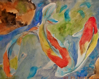 Original Watercolor Painting Koi Fish Water