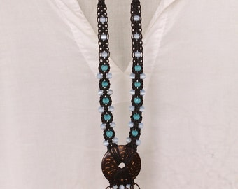 Coconut Fringe Necklace Blue Brown / Pendant Statement Necklace / Beaded Macrame Necklace, brown and blue