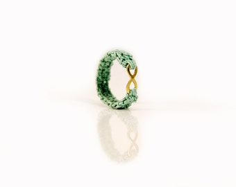 love ring - friendship ring - tiny ring - friendship gift - dainty ring - green ring - cotton ring - crochet jewelry - MudenoMade