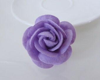 Flower felt hair clip, flower brooch, purple hair accessory