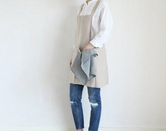 No-ties Linen Apron,Natural Beige