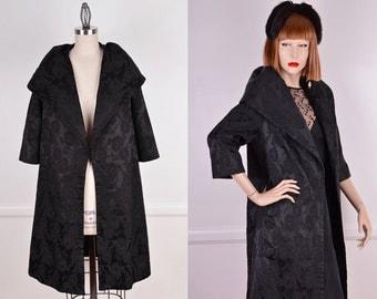 50's Black Floral Opera Coat