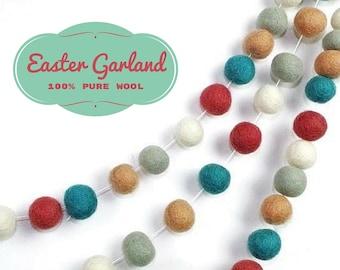 Felt Ball Garland, Rustic Home Decor, Pastel Colors Garland, Rustic Decorations, Holiday Garland, Mantel Garland Decor, 25mm Felt Balls
