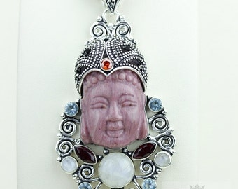 Rhodonite Moonstone Kwan Yin Guanyin BUDDHA Goddess Face Moon Face 925 S0LID Sterling Silver Pendant + 4MM Chain & Free Shipping p3755