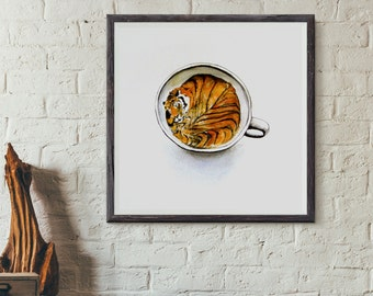 Watercolor Art Print // Tiger in a Teacup // Square Art Print // Bengal Tiger Sleeping Watercolor
