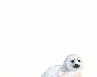Arctic Seal Watercolor PRINT - Baby Animal Art - Baby Seal Painting - Baby Room Wall Art - Nursery Décor - Baby Shower Gift - Arctic Seal