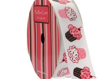 "7/8"" Brown and Pink Cupcake Printed Grosgrain Ribbon - 5yds"