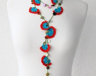 Crochet Flower Necklace, Beadwork Necklace, Crochet Lariat Necklace, Strand Necklace, bohemian gipsy,  Lace Jewelry, poppy flowers,