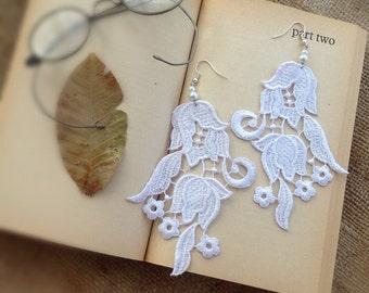 Lace Earrings, Dangle Earrings, Statement Earrings, White Lace, Floral Earrings, Boho Earrings
